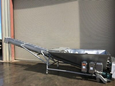 Cozzini 8 Dia. X 20 Long Stainless Auger Screw Incline Conveyor With Twin Scre