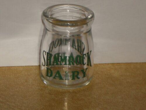 "Vintage Individual SHAMROCK DAIRY Glass Coffee Creamer 1.75"" Diner Restaurant"