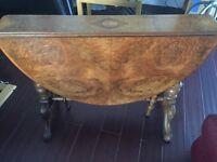 Victorian Antique Walnut Burr Sutherland Table