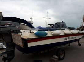 17ft Plane Craft Fibre Glass boat with Cathedral Hull and 40HP Mariner long shaft engine.