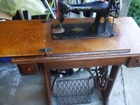 SINGER TREADLE SEWING MACHINE IN RUSTIC CONDITION