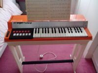 VINTAGE 1970'S KEYBOARD BOMTEMPI ORGAN ON STAND ORANGE GREAT CONDITION