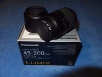 LUMIX G VARIO 45 - 200 f4 - 5.6 MEGA OIS ZOOM LENS in original box and v g condition, little use.