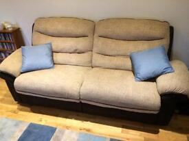 2 and 3 seater DFS fabric sofa
