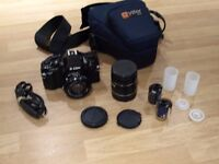 35mm Camera with extra macro lens / case /2 rolls of film Excellent Condition