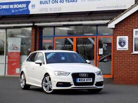 AUDI A3 2.0 TDi S LINE 5dr (150) ** Sat Nav + Half Leather ** (white) 2014