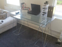 Modern Glass Chrome Desk.