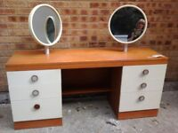 Unusual retro 1970's bedrom furniture, Dressing table with 2 mirrors & 2 chests of 3 drawers