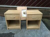 BRAND NEW 2x Bedside Tables in Oak Effect POSSIBLE IN FULLY ASSEMBLED OR FLAT PACKED