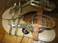 italian leather gold ladies sandals brand new unused size 6