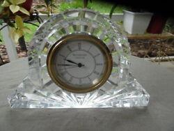 Waterford Crystal Wharton Pattern Lismore Blank Lg Mantle Desk Paperweight Clock