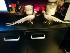 Pair of metal pheasents