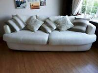 Large leather and washable fabric ivory settee
