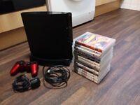 SONY Playstation 3 120gb SLIM Black # Wireless Controller # 14 Games # HDMI # Very Cheap Bundle