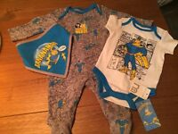 Bananaman baby set-3 piece up to 3 months - new