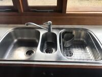 Triple Stainless steel Blanco kitchen sink and tap