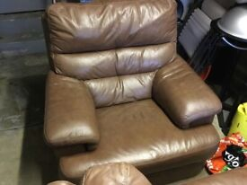 Ex Andersons of Inverurie leather sofa and seat for sale