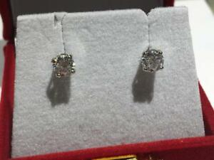 #66 14K WHITE GOLD NEW .69CT TOTAL DIAMOND SCREWBACK EARRINGS **APPRAISED AT $4350.00 SELLING FOR ONLY $1150!**