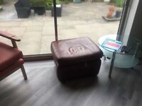Sofa suite leather burgundy chesterfield. 3 piece. 2 piece. Single arm chair and stool