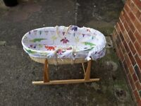 Moses basket with mattress and rocker stand