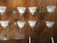 4 Brass double headed vintage wall lights