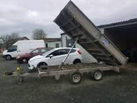 Ifor williams 12x6.6 drop side tipping trailer new battery and recon motor