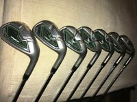 Taylormade Rocketballz Irons, 4 to 9 & AW, regular steel shafts, very good condition.