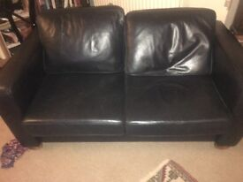 Used great condition black leather sofa