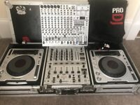 Pioneer CDJ 800MK2 with Flight Case, Mixer and Mixing Deck.