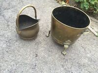 Coal shuttle and matching Brass Log Basket