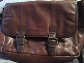 John rocha brown leather satchel