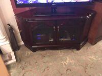Dark solid wood TV corner unit T
