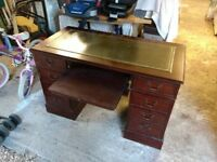 Antique writing desk/table with green leather inlay