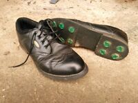 Golf shoes, size 12 black leather with screw in summer studs and winter spikes