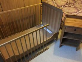 Ikea cot and bedside table