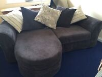 NEARLY NEW Lounger Sofa left or right sided. Charcoal Grey soft chenelle,
