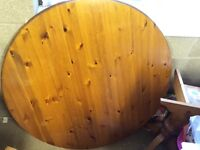 Round Pine Kitchen Table and 4 Chairs