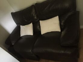DARK BROWN 2&3 large leather recliner sofas