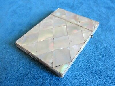 Antique Victorian Quilted Diamond Mosaic Mother of Pearl Calling Card Case Box (Calling Card Box)
