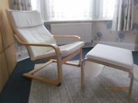 "IKEA 2 ""IKEA"" Poang cream armchairs , one with matching foot stool. All set only 45£"