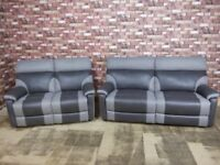 QUALITY EX DISPLAY 'RALPH' 3 & 2 SEATER MANUAL RECLINERS IN TWO TONE GREY MIX FABRIC SETTEE/SUITE