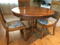 Dining table & 4 Chairs, Table circular with pedastel leg very good condition