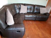 Brown 5 seater double recliner sofa
