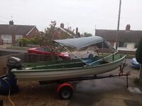 Fishing boat, Bonwitco 475 (16ft), 20hp Mariner outboard, Break-back trailer, Folding front cuddy.