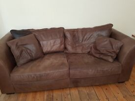 2 seater and 3 seater chocolate brown leather sofas COLLECTION ONLY