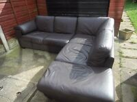 Dfs real brown leather corner sofa/ can deliver