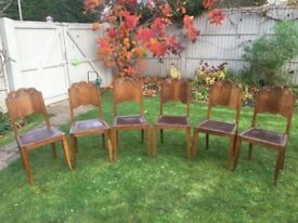 6 Art Deco style dining chairs plus indian cushions