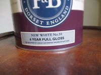 """New, unopened 2.5 litre can of """"New White"""" Farrow & Ball gloss paint at half price"""