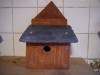 Small Wooden Bird Box x 7 (seven in total). Hand made with slate roof. Price is for single box.