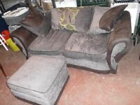 2 TWO SEATER SOFAS AND FOOT STOOL
